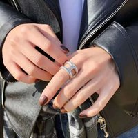 Ring Korean S925 pure silver ring 2020 new ins versatile H-shaped thickened opening female