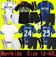 Taille 16-4XL Jersey Inter Soccer Lukaku Milan Vidal Barella Lautaro Eriksen Alexis 21 22 Chemise de football 2021 2022 Uniformes Hommes + Kit Kit 4ème Quatrième