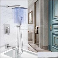 Sets Faucets, Showers As Home & Garden Style Bathroom Stainless Steel Kit Household Multifunctional 12-Inch Led Rain Wall-Mounted Shower Noz