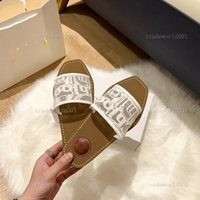 Children's shoes Fahsion Women Sandals Branded Woody Mules Fflat Slipper Ladies Flip Flops White Slides Lettering Fabric Outdoor Leather Sole Slide Sandal