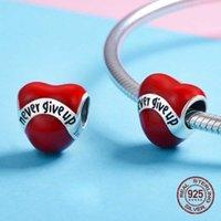 Enamel Heart Shaped Red Beads Fit bangle Bracelet Charm 925 Sterling Silver Fashion Jewelry DIY Women Wedding Gift