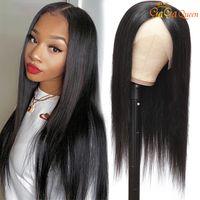9A 13x4 레이스 프론트 가발 인간의 머리카락 미리 뽑은 브라질 스트레이트 레이스 가발 흑인 여성용 자연 색