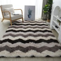 Carpets Colorful Shaggy Carpet For Living Room Bedside Rugs Rainbow Color Soft Fluffy Plush Bedroom Home Decor