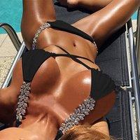 Swimwears Diamond Bikini White Rhinestone Braizilian Swimwear Female Strappy Swimsuit Women Crystal Set Push Up Bathing Suit