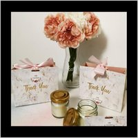 Wrap Event Festive Supplies Home & Garden50Pcs Wraps Creative Grey Marble Gift Bag Box For Party Baby Shower Paper Chocolate Boxes Package We