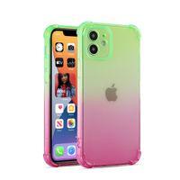 Cas de téléphone dégradé à deux couleurs pour iPhone 13 12 11 Mini Pro Max XR XS 6 7 8 Plus Quatre coins Air Sac Air Sac Protection anti-goutte Cas de téléphone portable