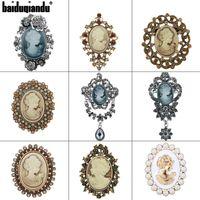 Marca Fábrica Venta Directa Estilos Cráneos Cristal Rhinestones Vintage Vintage Brooch Pins Para Mujeres