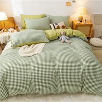 Bedding Sets Green Grid 4pcs Set Quilt Cartoon Duvet Cover Lucky Clovers And Plaid Reversible Bed Linen Luxury Home Textile