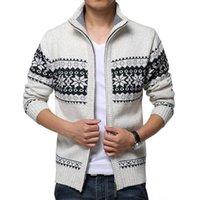 Neue Herbst Winter Herren Pullover Wolle Männer Mandarin Kragen Solide Farbe Lässige Pullover Männer Dicke Fit Marke Gestrickte Strickjacke