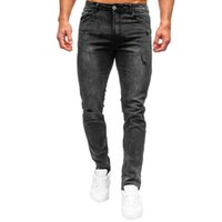 Men's Jeans Men Solid Color Denim Trousers Slim Fit Middle Waist Ripped Long Pencil With Pockets