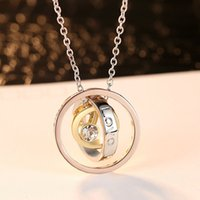 necklace Fashion mother's Day Nelace creative three color ring crystal pendant female clavicle chain