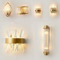 Lámpara de baño de cristal de oro moderno Lámpara de baño de la paredera para la cama para el dormitorio Lámparas de la sala de estar