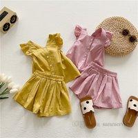 Sommer Kinder Kleidung Sets Mädchen Falbala Fly Hülse Einreiher Tank Top + Elastische Taille Lose Shorts 2 stücke Mode Kinder Outfits Q0387