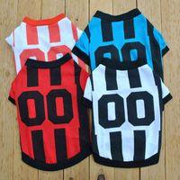 Style Sports Stripe Sublimation Blanks Dog Apparel Dogs Clothe Paw Print Plain T-shirt Cotton Ventilation Spring Summer Vests Football Shirt