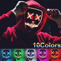 Nuevo DHL Gratis 10Colors Máscara de Halloween LED LED Encienda las máscaras de la fiesta El año de las elecciones de purga Gran festival divertido del festival de cosplay Suministros de traje de cosplay en la cara oscura Sheild al por mayor