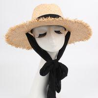 모자 모자 세련된 짚 태양 모자 패키지 캡 소프트 리본 스트랩 픽스 Foldable 여행 해변 동반자 UV 해를 줄이는 1427 B3