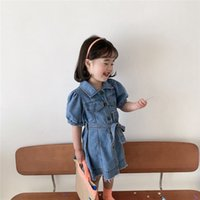 Mädchen Blätter Kurzarm Denim Kleid Ins Sommer Kinder Revers Single-Breasted Belt Quaste Jean Casual Dresses Kinder Weiche Cowboy Kleidung A6457