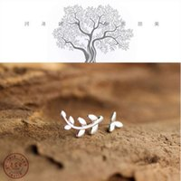WANTME Fashion Asymmetric Olive Branch Tree Leaves Studs Earrings for Women Authentic 100% 925 Sterling Silver Fine Jewelry