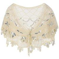 Scarves Women's 1920s Shawl Sequin Beaded Evening Wraps Flapper Bolero Cover Up Bridal Cape