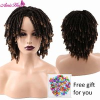Amir Dreadlock Short Twist Burly Wig Ombre Brown pour femmes noires et hommes afro Synthetic Crochet Crochet Coiffeurs Faux Locs Braid Wigs