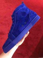 Factory Discount Mens повседневная обувь плоский красный дно мужчины кроссовки роскошные вечеринки свадебные туфли натуральные кожаные шипы на шнуровке замшевые синие супер качество с пылью