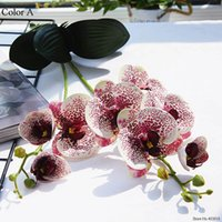 Decorative Flowers & Wreaths Luxury Latex Orchid With Leaves Artificial Flower White Butterfly Orchids Fake For Home Wedding Decoration Flor