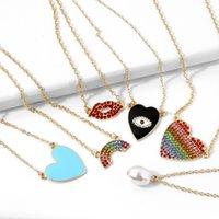 Necklace with Lips, Peach Multi Color Oil Drop, Natural Pearl, Rainbow Heart, Czech Diamond Pendant