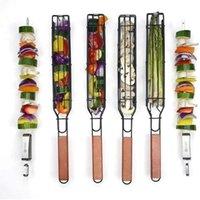 BBQ-Grillkorb mit hitzebeständigem Holzgriff, Kabob-Spieße-Non-Stick, BBQ-Werkzeuge