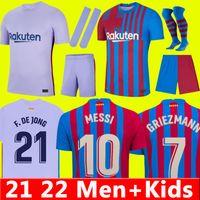 Barcelona Fußballtrikot 21 22 BARCA ANSU FATI Trikot 2021 2022 MESSI GRIEZMANN F.DE JONG COUNTINHO DEST Fußballtrikot Herren + Kinder Kit Set