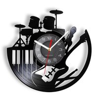 Wall Clocks Drum And Guitar Musical Instrument Set Record Clock Rock Band Music Room Sign Retro CD Disc N Roll Gift