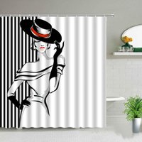 Shower Curtains European Style Fashion Girl Stripe Black And White Bathroom Screen Waterproof Fabric Bathtub Decor With Hooks