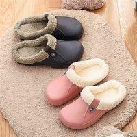 Unisex Home Winter Clogs Indoor Fur Warm Slippers Sandals For Women New Fashion Footwear Flops Mule Slides 2022