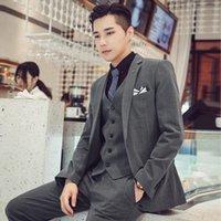 Men Wedding Dress Suits For Man 3 Pieces Fit Blazers Jackets+Pants+Vest High Quality Plaid Male Formal Wear Men's &