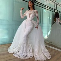 Graceful Beaded Mermaid Lace Wedding Gowns With Detachable Train Bateau Neck Long Sleeves Backless Bridal Dresses Sequined robe de mariée