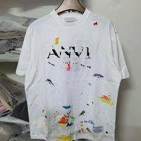 21ss 봄 여름 파리 스플래시 잉크 손으로 그린 황금 인쇄 공동 작업 티 스케이트 보드 망 티셔츠 여성 거리 캐주얼 티셔츠