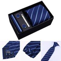 Fashion 8cm Wide Tie Sets Black blue red Men's Neck Tie Hankerchiefs Cufflinks 24 colours Box gift polyester silk handmade