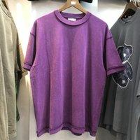 빈티지 티셔츠 남성 여성 고품질 Back Reversal Tee Cotton Short Sleeve Shirts 남성용 T 셔츠