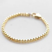 Link, Chain 2021 Men's And Women's Box Bracelet, European American Fashion Simple Gold White K Bracelet Trendy Jewelry