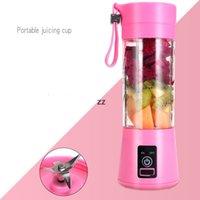 휴대용 과일 블렌더 USB 믹서 전기 Juicer 기계 스무디 블렌더 야채 압축기 프로세서 380ml 6 잎 블레이드 hwe9434