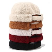 Skullcap de peluche de peluche de peluche con sombrero pintor sombrero boina de lady color sólido curling beret lamb1