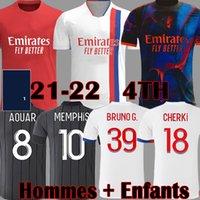 2021 2022 Olympique Lyonnais Digital 4th Soccer Jerseys Memphis Traore Fekir Camicia da calcio 20 21 22 Red Ol Lyon Aouar Maillot de Foot Uomini Bambini Kit quarta uniforme
