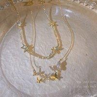 Cadena mujeres colgantes real oro galvanoplasión coreano moda micro incrustado zircon collar con mariposa de diamante