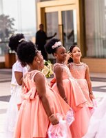 2021 African Black Girl Lace Appliqied A-line Flower Girl Dress Blush Pink Princess Ball Gown Girl Formal Wedding Dress Pageant Party Gown