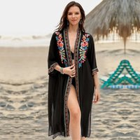 2021 Black Indie Folk Embroidered Plus Size Summer Beach Wear Kimono Cardigan Women Cotton Tops and Blouse Shirts Sarongs N940