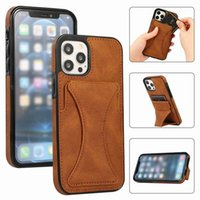 Card Slot Kickstand Leather Cases For Iphone 13 11 12 Pro Max Xr Xs 7 8 Magnet Wallet Wrist Multifunction Protective Cover Shockproof Anti Fall