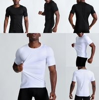 Designer lulu yoga t shirts Short Sleeve mens tees gym Close-fitting jacket lu shirt shitrs tshirts cotton Casualr T-shirt Men Top mesh black white slim tops Outfit