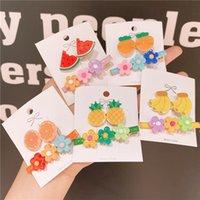 Kore versiyonu güzel kızın meyve zarif küçük çiçek kombinasyonu küçük taze banger set çocuk saç tokası