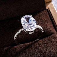 Huitan fantasia ovale cubico zirconi argento anelli di colore donne donne elegante proposta di fidanzamento anello senza tempo regalo gioielli regalo