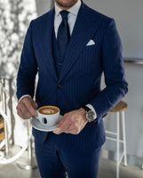 2021 Bande de corde bleu foncé Mariage Smokedos Mens costumes Slim Fit Fit Peaked Reversman Bestman GroomsMen Blazer Designs 3 pièces (veste + pantalon + gilet + cravate) sur mesure
