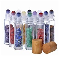 10mL Jade Rollerball Bottle Perfume Essential Oil Storage Bottles With Crushed Natural Crystals Quartz Stone Crystal Roller Ball Bamboo 10 Colors